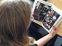 Student enjoying a graphic novel