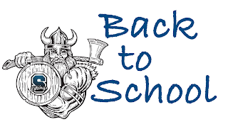 Picture of a Viking and Shield with the Text Back to School